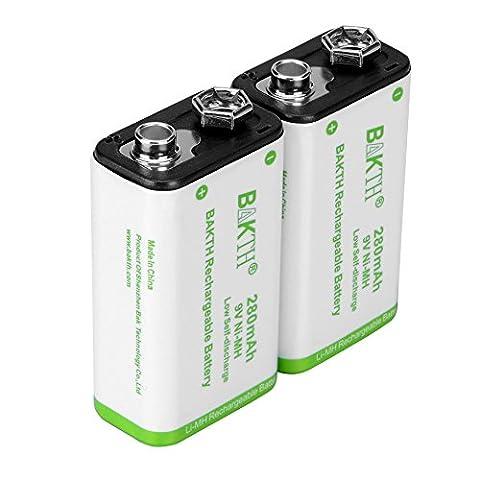 BAKTH 9 Volt NiMH Rechargeable Batteries 9V 280mAh Highest Performance