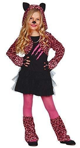 Costume deluxe in velluto fantasy a leopardo per ragazze da indossare per halloween o carnevale, travestimento con vestito di grande animale felino selvaggio, colore: rosa.