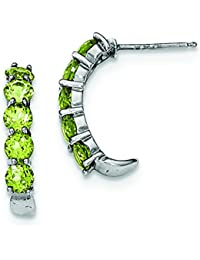 Sterling Silver Peridot J-hoop Earrings