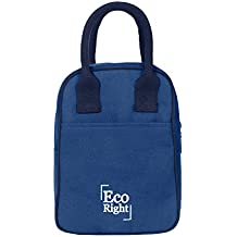 Eco Right Insulated Lunch Bag for Office Men, Women and Kids, Quality Canvas Tiffin Bag for School, Picnic, Work, Carry Bag for Lunch Box | Navy Blue | 0703-N
