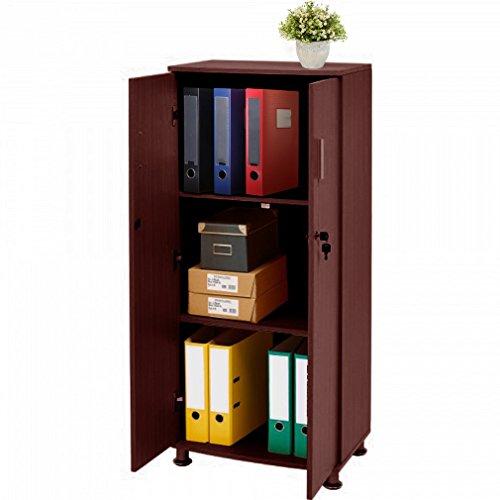 MAKPON Aktenschrank Hochschrank 3Ebene 2Türen 55x 35x125cm Abschließbar Einlegeböden Bücherregal Schrank Aufbewahrung (2 Tür Bücherregal)