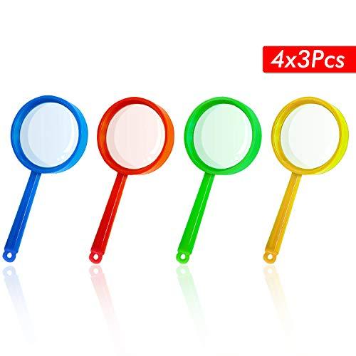 12 Stück Kinder Lupe Spielzeug Vergrößerungsglas Kinder Set 4 Farben zum Kindergeburtstag Party Geschenk für Detektiv Spion Geheimagent Forscherset