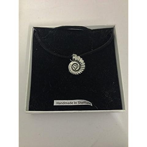 Ammonite su un cordino nero collana AKR peltro inglese fatto a mano 41cm