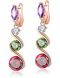 Jewels Galaxy Crystal Elements Sparkling Multicolor Splendid Designed 18K Rose Gold Plated Drop Earrings For Women...