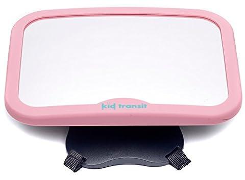 Baby-Autospiegel von Kid Transit - groß, glasklar und sicher. Universeller, wackelfreier Rücksitzspiegel, speziell für Babys und Kleinkinder entwickelt - Rosa - 1 Segno In Bianco