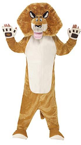 Smiffys Kinder Unisex Alex der Löwe Kostüm, All-in-One mit gepolstertem Kopf, Madagascar, Größe: M, 20484 (Einfach Löwe Kostüm Für Erwachsene)