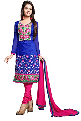 Khushali Women Chanderi Unstitched Salwar Suit (Blue)  available at amazon for Rs.828