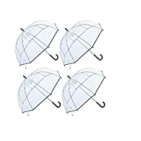 Calli Factory Clear Lightwight Umbrella for Women, Kids - Automatic Open, Transparent Dome Fashion Umbrellas with Easy Grip Strap, Iridescent 4 Color Set (Black)