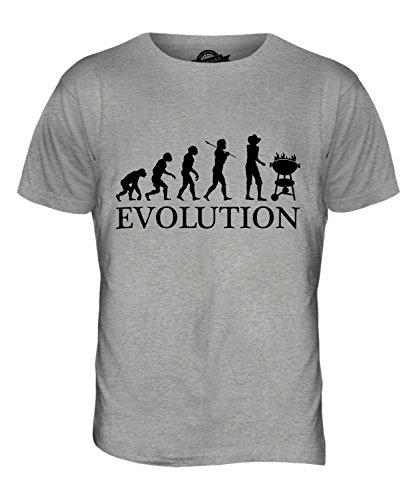 CandyMix Barbecue Grill Evolution Des Menschen Herren T Shirt Grau Meliert
