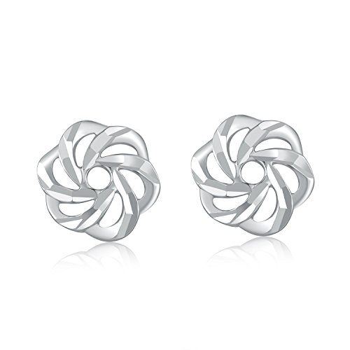 14K Oro bianco taglio diamante fiore orecchini
