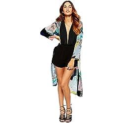 Cárdigans de Mujer ❤️ Amlaiworld Cárdigan Largo Kimono Estampado Mujer Boho de Chifón Tops Blusa de Abrigo Chal Abrigo Casual Outwear Chaqueta (Negro, M)