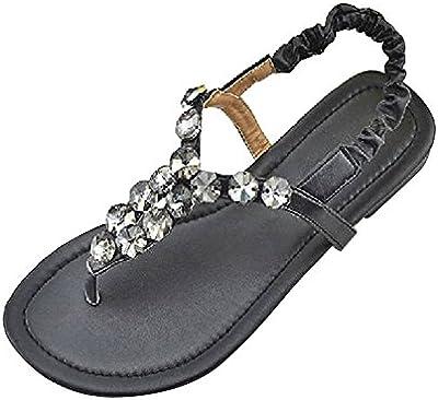 Zapatos de las mujeres planas de diamantes de imitación - sandalias clip de dedo del pie