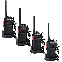 Retevis RT24 Plus sans Licence Talkie Walkie Professionnel Rechargeable Radio PMR446 Radio Bidirectionnelle Scan Surveillance 16 Canaux CTCSS/DCS avec Écouteurs (Noir,4 pcs)