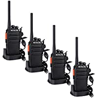 Retevis RT24 Walkie Talkies PMR446 License-free Two Way Radio 16 Channels Scan TOT with USB Charger and Earpieces (Black, 2 Pairs)