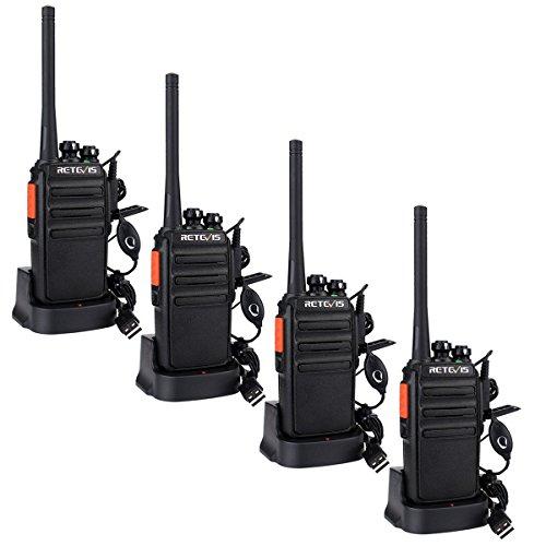 funkgeraete mit headset Retevis RT24 Plus Funkgerät Walkie Talkie 16 Kanäle UHF PMR Funkgeräte Set Wiederaufladbar USB Ladeschale mit Headset (Zwei Paare, Schwarz)