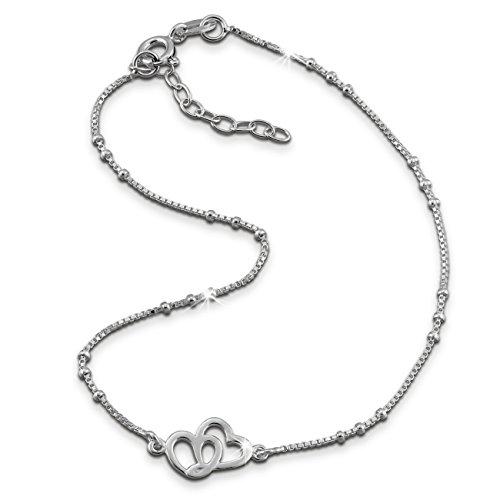 SilberDream Fußkette Zwei Herzen 23cm - 26cm Damenschmuck 925er Sterling Silber SDF0353J