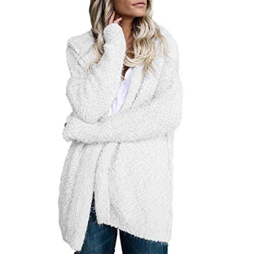 WUDUBE Cappotto Maglione da Donna, Giacca Cardigan Maglione con Cappuccio Casual, Tinta Unita Manica Lunga Outwear per L'Autunno Inverno