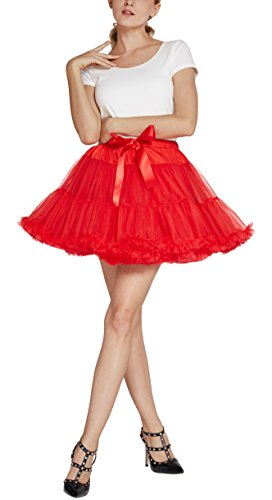 Damen Petticoat Princess Ballettrock Tutu Mini Unterrock (L, rot) (Princess Tutu Kostüm)