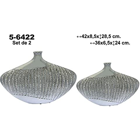 DonRegaloWeb - Set de 2 jarrones de cerámica de terracota decorados en color plateado