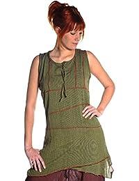 Ärmellos Bluse Oberteil Longshirt Kleid Top lang Träger Tank Freizeit Hippie Goa Ethno Tunika Obliq