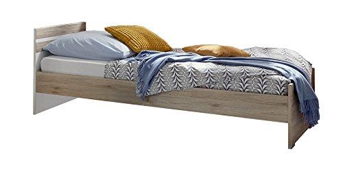 Wimex Bett/ Doppelbett Joker, Liegefläche 90x200, San Remo-Eiche/Absetzung Weiß
