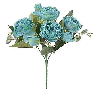 RoadRoma Peonía Paquete Hogar Sala de Estar Decoración de la Boda Seda Artificial Flor Azul
