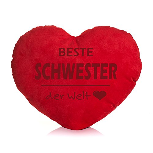 Shirt & Stuff / Herzkissen / Plüschkissen Herzform / verschiedene Sprüche auswählbar / Dein Statement / Deko / Kissen / Geburtstag / Valentinstag / Muttertag / Geschenk / Beste Schwester