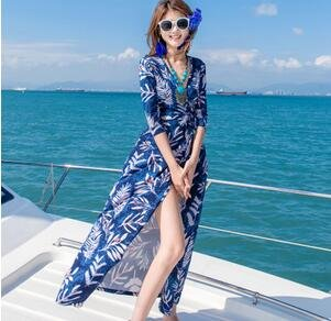 Urlaub am Meer - kleid MIT V - ausschnitt - strickjacke MIT spliss sexy körper pflegen böhmen pareos kleid Blaue Blätter