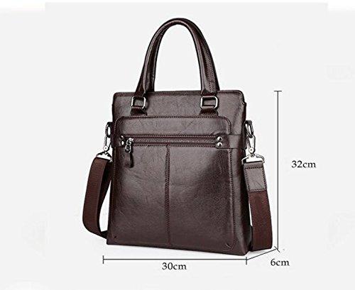 Mann-Geschäfts-Handtaschen-Leder-Beutel-Aktenkoffer-Schulter-Beutel-hohle Beiläufige Computer-Beutel-Art Und Weise Wild Brown2