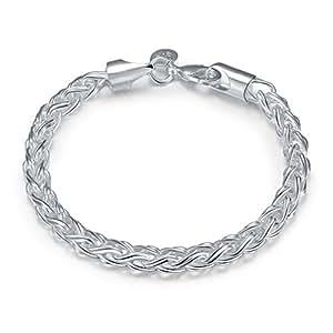 Femmes - Bracelet argent massif style 925 classique bijouterie mode + pochette velours