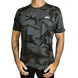 Alpha Industries T-Shirt Basic T Small Logo schwarz weiß blau grün rot Olive rot gelb braun grau (XL, Black Camo)