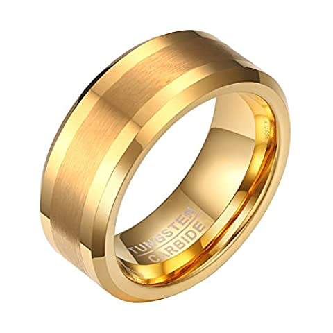 OAKKY 8mm Gold Tungsten Carbide Wedding Band Rings for Men