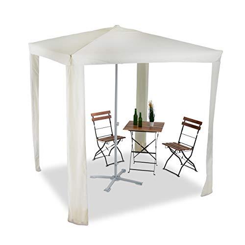 Relaxdays 2 in 1 Schattenspender, wasserabweisender Pavillon 2x2m, Polyester Bespannung, gelb Sonnenschirm quadratisch