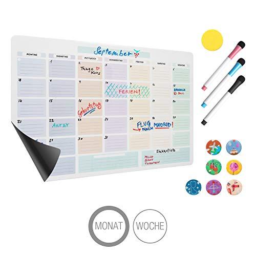 Amazy magnetischer Monatskalender inkl. 3 Marker, 7 Magnete und Radierer - Abwischbarer Kühlschrank Kalender für einen organisierten Monat inklusive Event-Magnete, Marker und Radierer