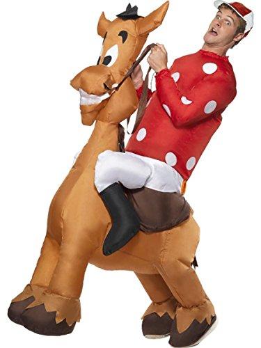 Smiffys Herren Kostüm Jockey Reiter auf Pferd aufblasbar Karneval Fasching (Pferd Und Jockey Kostüme)