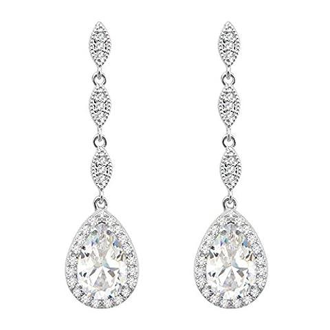 SELOVO Silver Tone Wedding Vintage Teardrop Dangle Earrings Dangling Clear CZ for Womens