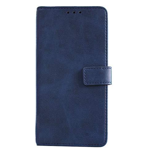 Samsung Galaxy A7 2018 Custodia a Libro Pelle Portafoglio Case Cover per A7 2018 con Slot per Schede e Chiusura Magnetica (Blu)