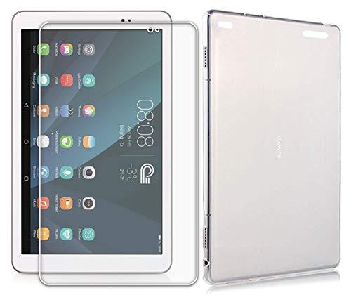 Domxteck (Paquete de 2 en 1 Funda Protectora de Silicona TPU Transparente + Protector de Pantalla 9H para Huawei MediaPad T1 10.0 (para Huawei MediaPad T1 10.0, Transparente)