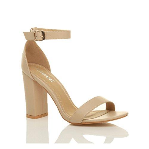 Femmes haute large talon chaussures bout ouvert sandales à lanières pointure Beige mat