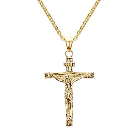 Bishilin Mens Womens Stainless Steel Jesus Crucifix Cross Pendant Necklace