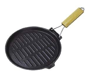 Crealys 103690 Poêle grill Rond Fonte d'Acier Gourmet Onyx Manche Bois 21 x 35 cm