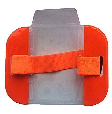 Ad alta visibilità-Fascia da braccio porta badge di sicurezza, alta visibilità, arancione, per la massima visibilità e sicurezza protezione/S-Braccio/supporto per badge, pass