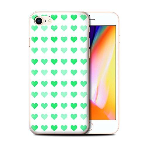 Stuff4 Hülle / Case für Apple iPhone 8 / Rosa Muster / Herz Liebe Schablone Kollektion Grün