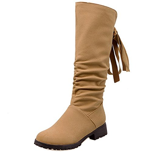 TAOFFEN Femmes Mode Hiver Chaud Appartements Hautes Bottes Fermeture Eclair Chaussures Warm Inner Yellow