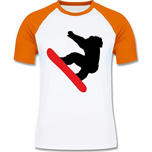 Wintersport - Snowboarder Schneebrett - zweifarbiges Baseballshirt für Männer Weiß/Orange