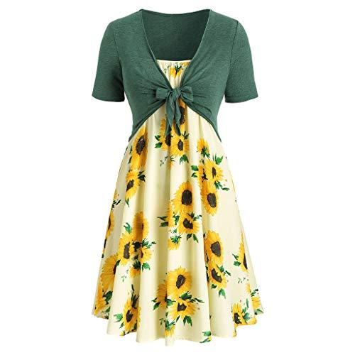 Sommer Kurzarm Bogen Knoten Verband Top Sunflower Drucken Minikleid Blumenkleid Set(Grün,EU-38/CN-L) ()