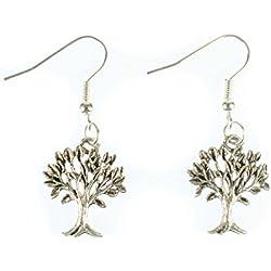 Baum Ohrringe Ohrhänger Miniblings Blätter Wald Pflanze Laubbaum filigran silber