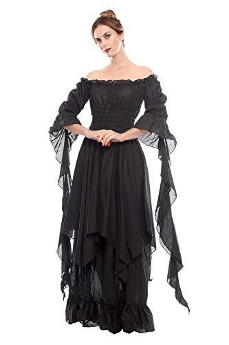 (Nuoqi Viktorianisches Nachthemd Gothic Kleidung Damen Mittelalterliches Renaissance Kostüm S/M)