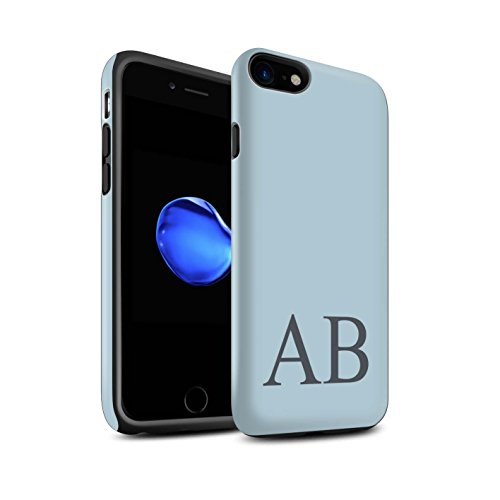 Personalisiert Pastell Monogramm Matte Zähen Hülle für Apple iPhone 7 / Türkis Design / Initiale/Name/Text Stoßfest Schutzhülle/Case/Etui Blaues