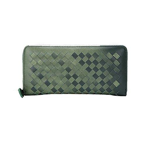 H&W Donna Braided Pelle Vera Cerniera Portafoglio Colore #1 verde